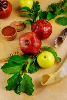 Traditionelle symbole für jüdischen feiertag rosh hashanah