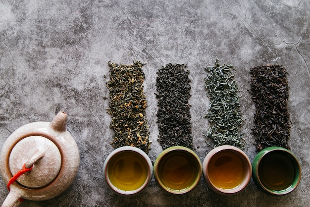 Traditionelle teekanne mit getrockneten kräutern und teetassen auf konkretem dunklem hintergrund
