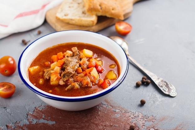 Traditionelle ungarische gulaschsuppe
