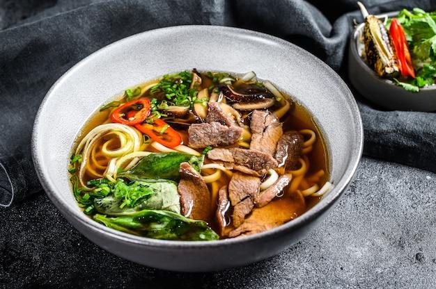 Traditionelle vietnamesische suppe pho bo mit kräutern, fleisch, reisnudeln, brühe