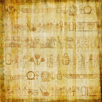 Traditioneller ägyptischer handgemachter papyrus mit alten hieroglyphen