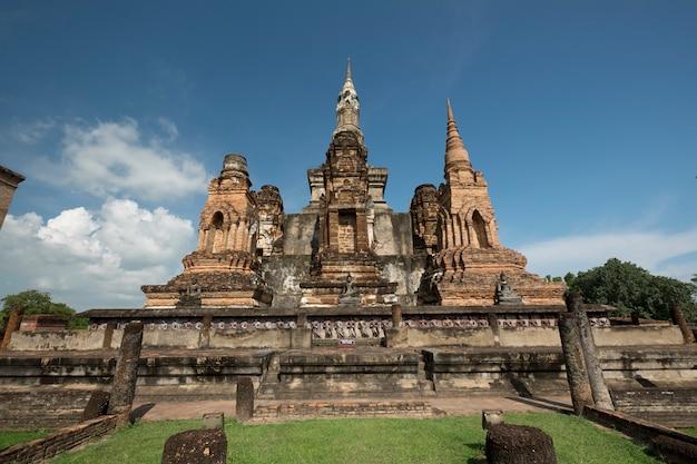 Traditioneller antiker tempel sukhothai thailand