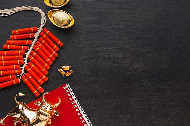 Traditioneller chinesischer ochsenkopierraum des neuen jahres