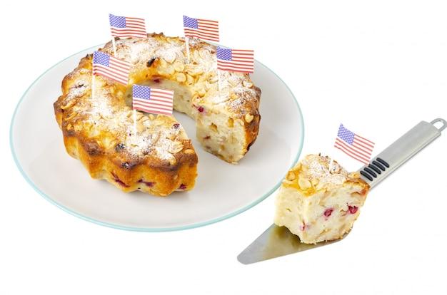 Traditioneller hausgemachter gebäckcupcake für unabhängigkeitstag.