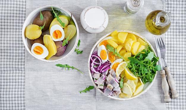 Traditioneller salat aus gesalzenem heringsfilet, eiern, frischen äpfeln, roten zwiebeln und kartoffeln. koscheres essen. skandinavische küche. draufsicht. flach liegen