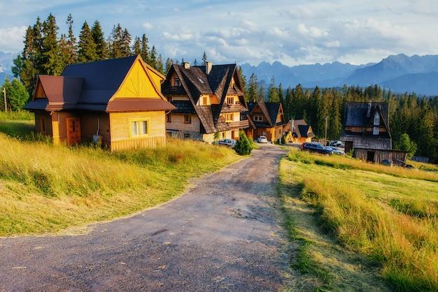 Traditionelles holzhaus in den bergen auf einer grünen feldstraße