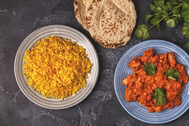 Traditionelles indisches curry mit huhn