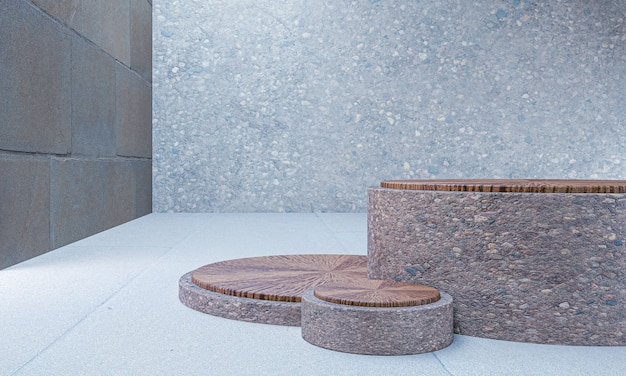Traditionelles podium für innenständervorlagen für produktanzeige, 3d-rendering