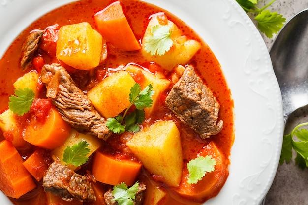 Traditionelles ungarisches gulasch. rindereintopf mit kartoffeln, karotten und paprika in der weißen platte, draufsicht.