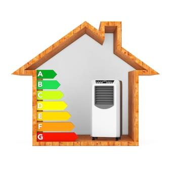 Tragbare mobile raumklimaanlage mit energieeffizienz-rating-diagramm in abstrakten ökologischen holzhaus auf weißem hintergrund. 3d-rendering