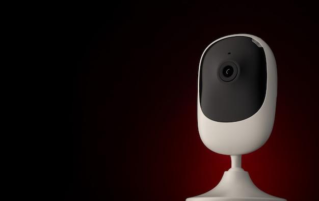 Tragbare überwachungskamera gegen dunkle oberfläche, kopierraum.