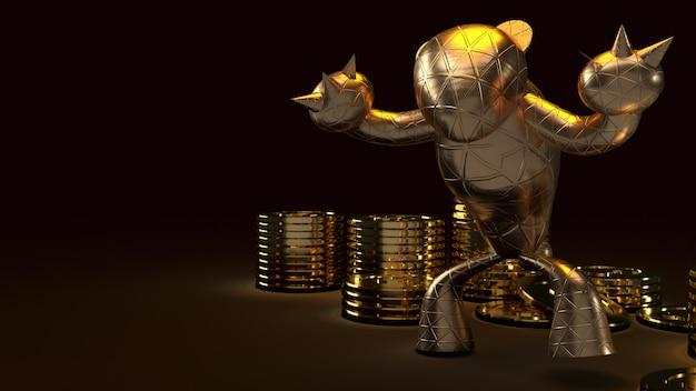 Tragen sie gold und gold-waschbären, 3d-darstellung auf dunkelheit