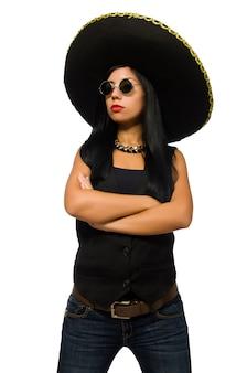 Tragender sombrero der jungen mexikanischen frau lokalisiert auf weiß