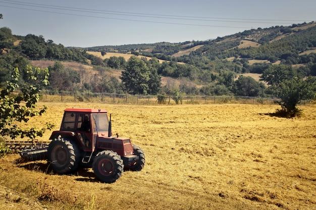 Traktor, der an der landschaft arbeitet