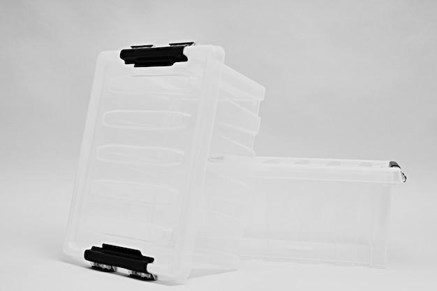 Transparente kunststoffbox für lagerung und transport