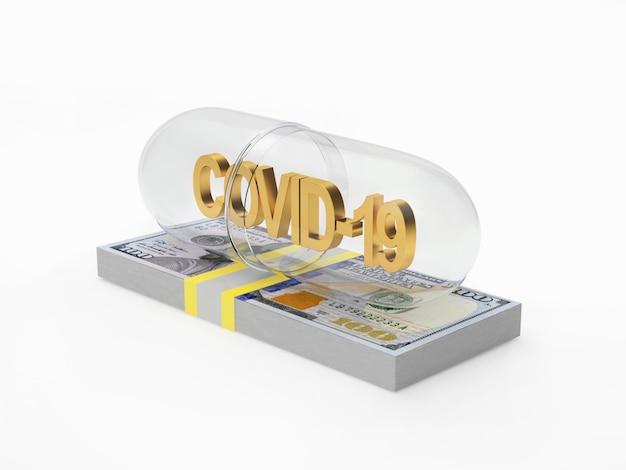 Transparente medizinische kapsel mit covid-19-symbol auf einem bündel dollarnoten