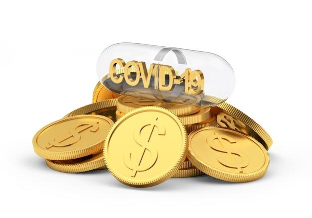 Transparente medizinische kapsel mit covid-19-symbol auf einem stapel münzen