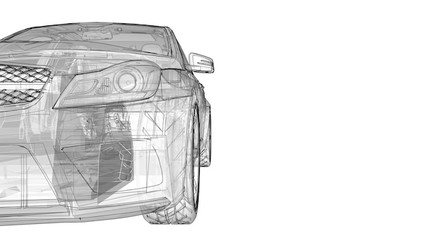 Transparente superschnelle sportwagen abgegrenzte linien auf weißem hintergrund. limousine in körperform. tuning ist eine version eines gewöhnlichen familienautos. 3d-rendering.