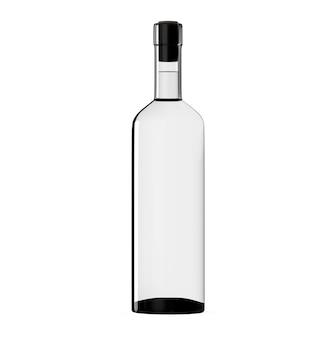 Transparente weinflasche isoliert weißes glas bordo leere designvorlage alkohol realistisch rendern