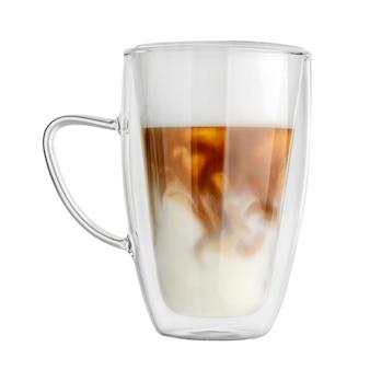Transparenter doppelwandiger glasbecher mit lattekaffee isoliert