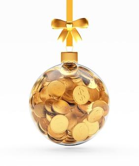 Transparenter weihnachtsball voller münzen