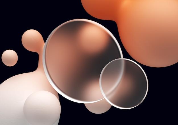 Transparentes scheibenelement mit flüssiger form mit glasmorphismus-effekt