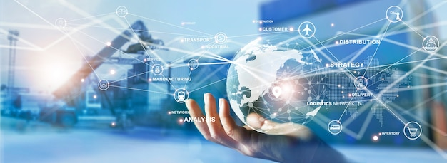 Transport und logistik greifen sie auf ein globales netzwerk von logistik- und frachtverteilungsgütern zu