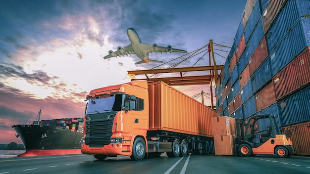 Transport und logistik von containerfrachtschiffen und frachtflugzeugen. 3d-rendering und illustration.