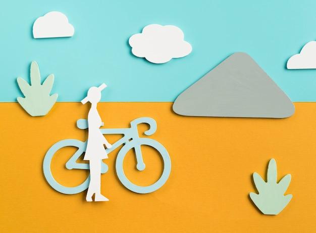 Transportkonzept mit person und fahrrad