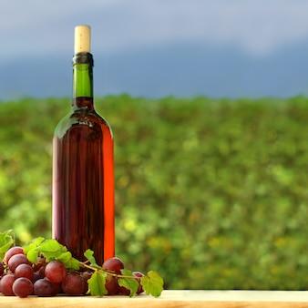 Traube und flasche rotwein im freien, hintergrund