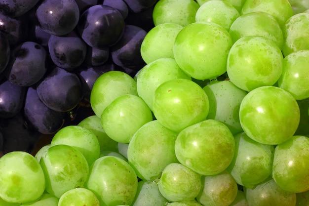 Trauben grün und lila nahaufnahme beeren in der nähe.