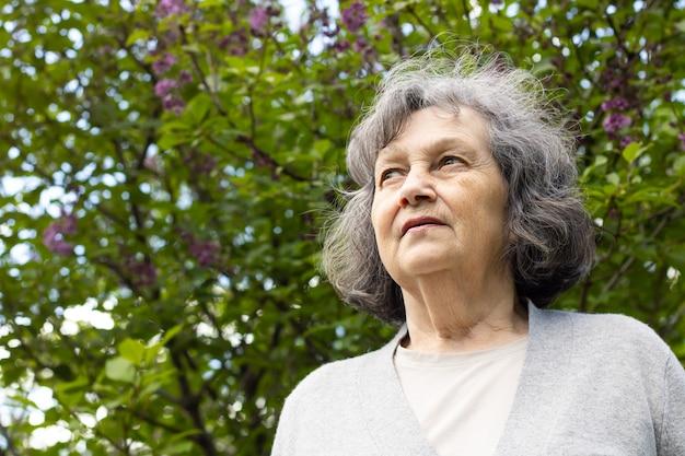 Traurige ältere frau blickt vor dem hintergrund einer blühenden baumkrone in die ferne. einsame grauhaarige frau im rentenalter geht an einem frühlingstag im park spazieren