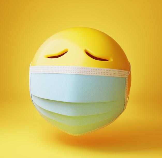 Trauriger emoji mit einer medizinischen maske