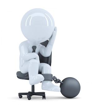 Trauriger geschäftsmann an seinen stuhl gekettet. unternehmenskonzept. isoliert. enthält einen beschneidungspfad