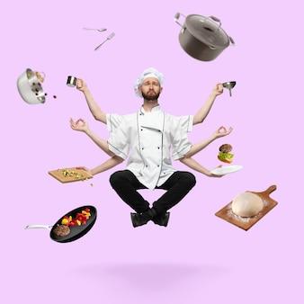 Trauriger, gutaussehender kocher, koch, mehrarmiger bäcker, der einzeln auf rosa studiohintergrund mit ausrüstung schwebt. konzept der beruflichen tätigkeit, arbeit, kochen, küche. multitasking wie shiva. kunst-collage.