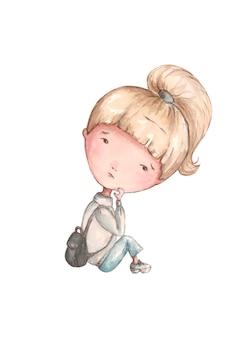 Trauriges mädchen, das mit einem rucksack, aquarell sitzt