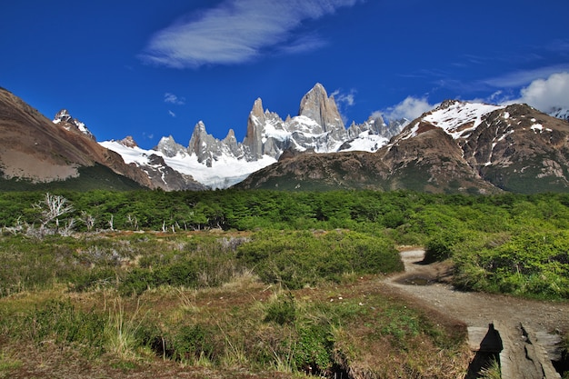 Trekking nach fitz roy, el chalten, patagonien, argentinien