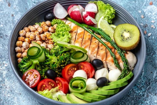 Trendiger salat. hühnchen gegrilltes filet mit salat, frischem gemüse und obst, ketogenes diät-mittagessenkonzept, banner, menürezeptplatz für text, draufsicht,
