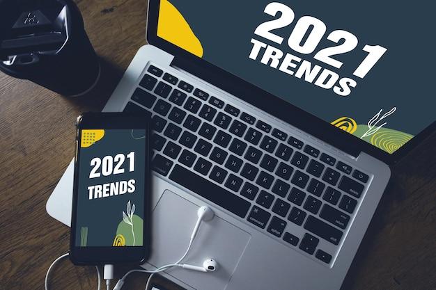 Trends für das jahr 2021 bei smartphone- und laptop-bildschirmen.