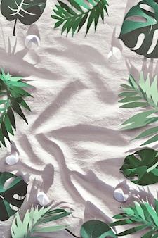 Trendy flat lay, draufsicht mit dekorativen papierelementen.