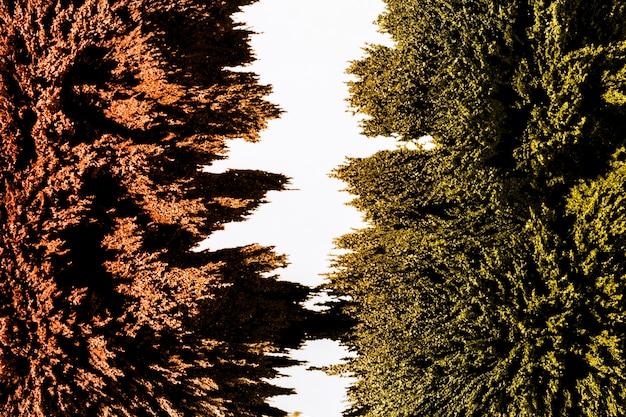 Trennung des grünen und braunen magnetischen metallrasierhintergrundes