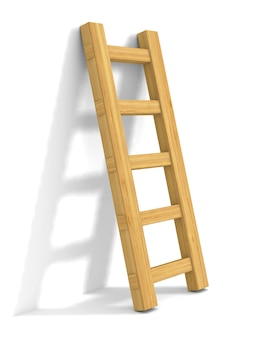 Treppe auf weißem raum. isolierte 3d-illustration