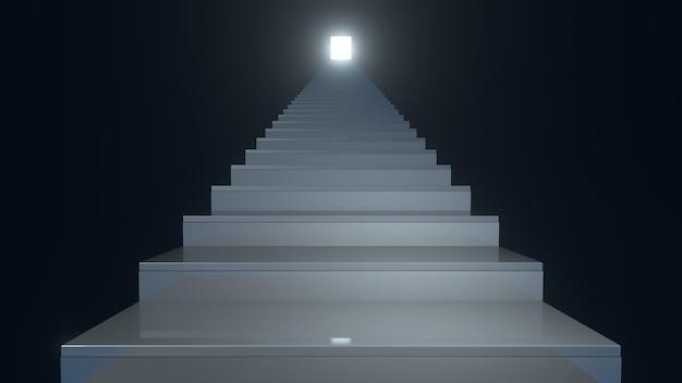 Treppe in einem dunklen innenraum an einer schwarzen wand