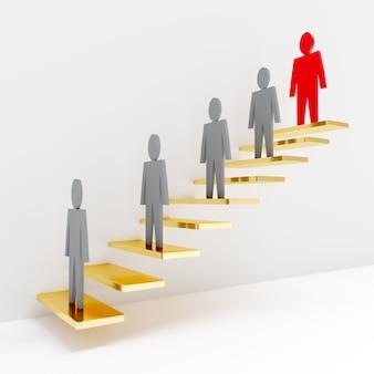 Treppe mit 3d männern, die an der spitze des anführers stehen