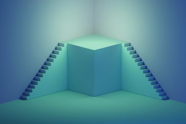 Treppe mit podium auf blau