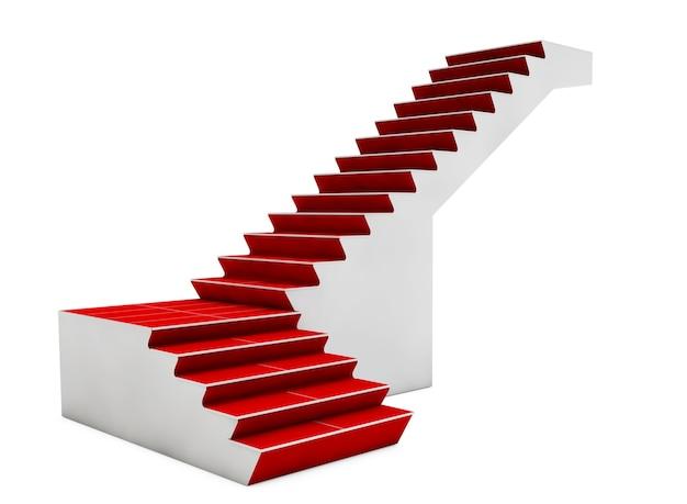 Treppe mit rotem teppich auf weißem hintergrund. 3d-rendering