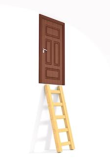 Treppe und tür auf weißem raum. isolierte 3d-illustration