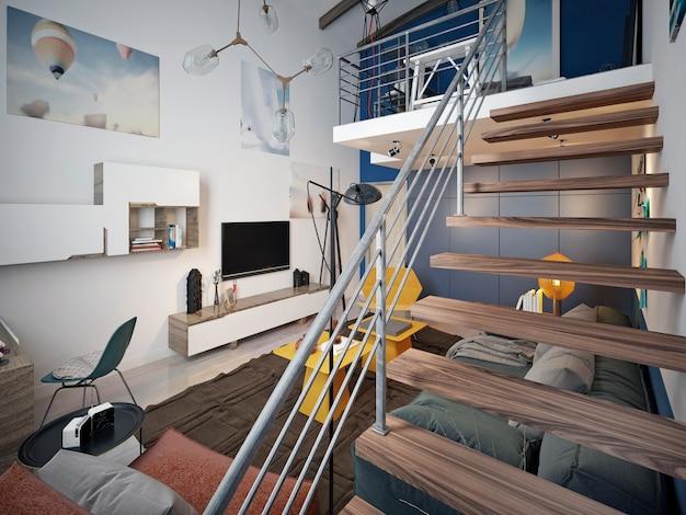 Treppe von der ersten zur zweiten ebene in einem teenagerzimmer im loft-stil.