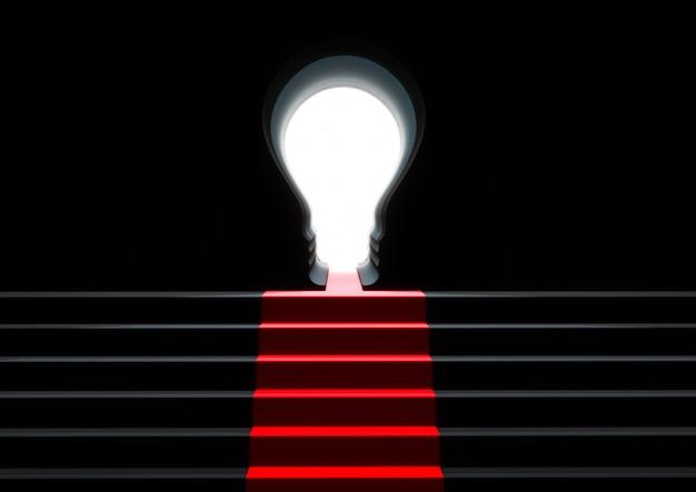 Treppe zur glühbirne des türschlüssels. konzept geschäftserfolg.