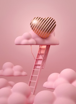 Treppe zur rosa wolke mit rosa und goldenem herzen